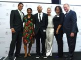 Indigenous Olympians Des Abbott, Nova Peris and Baeden Choppy with AOC Secretary-General Fiona de Jong, Recognise Campaign Director Tanya Hosch and AOC President John Coates.