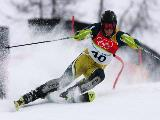 Jono Brauer of Australia competes in the Final of the Mens Alpine Skiing Slalom on Day 15 of the 2006 Turin Winter Olympic Games on February 25, 2006 in Sestriere Colle, Italy.