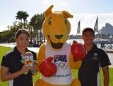 Ami Matsuo, BK and Kenneth To celebrating 100 days until the Youth Olympic Games in Nanjing, on 8 May 2014 at Sydney Harbour Foreshore. Matsuo will represent Australia at Nanjing 2014 in swimming and To represented in 2010.