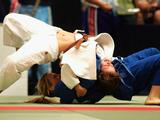 Amy Dillon of Australia in action against Lisa Archibold of New Zealand in the Womens 52kg Judo Competition, during day three of the Australian Olympic Youth Festival in Sydney on January 22
