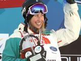 Anna Segal clutches her trophy after winning the slopestyle event at the 2011 FIS Freestyle World Championships in Park City, Utah.