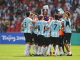 Argentina celebrates winning the Men's Gold Medal football match between Nigeria and Argentina at the National Stadium on Day 15 of the Beijing 2008 Olympic Games on August 23, 2008 in Beijing, China.