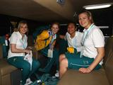 Athletes from the Australian Team arrive before the start of the Youth Olympic Games in Singapore