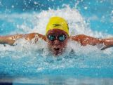 Youth Olympic swimmer Brianna Throssell mid stroke.
