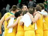 Australia celebrates their 81-61 victory over China following their Men's Basketball Preliminary Round match on Day 6.