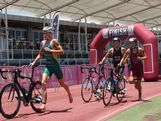 Jacob Birtwhistle heads out in front on the bike leg of the Australian Junior Triathlon Series.