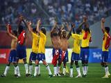 The Brazil team thank their support after the men's preliminary group C match between Brazil and Belgium at Shenyang Stadium on Day -1 of the Beijing 2008 Olympic Games on August 7, 2008 in Shenyang, China.