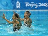 Saho Harada and Emiko Suzuki of Japan compete in the Synchronised Swimming Duet Free Routine Final.