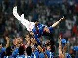 Manager Kim Kyungmoon of Korea is tossed in the air by his players after Korea won 3-2 against Cuba during the men's gold medal baseball game held at Wukesong Baseball Field on Day 15 of the Beijing 2008 Olympic Games on August 23, 2008 in Beijing, China.