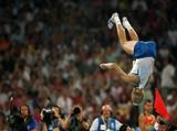Andrey Silnov of Russia celebrates after winning the gold medal in the Men's High Jump Final at the National Stadium on Day 11 of the Beijing 2008 Olympic Games on August 19, 2008 in Beijing, China.