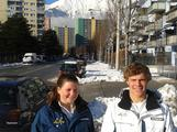 Ski Cross athletes Jack Millar and Claudia Leggett in the Youth Olympic Village.