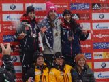 Skeleton Olympian Michelle Steele on the podium in Konigssee, Germany after a 4th place at the 2014 World Cup.