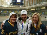 Coach Andrew Reynolds with ice hockey skills challenge competitors Sam Hodic and Sharnita Crompton.