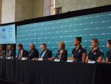 (L-R) Torah Bright, Bruce McAvaney, Tim Worner, Kerry Stokes, John Coates, Kitty Chiller, Liz Cambage, Holly Lincoln-Smith and Alicia Quirk speak at the AOC Press Conference to mark 2 Years to the Rio Olympics and also Seven's Olympic Broadcast deal.