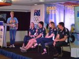 Hockey gold medallist Matthew Wells speaks to the audience of athletes at the Road to Rio IGNITE session in Brisbane.