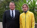 In my Beijing Olympic Team kit with Dad, who played Olympic water polo for Great Britain.
