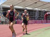 Jodie Duff and Jaz Hedgeland compete at the Australian Junior Triathlon Series.