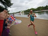 Emma Jackson of Australia competes in the running stage of the Women's Triathlon event at the London 2012 Olympic Games in Hyde Park which was won by Nicola Spirig of Switzerland.