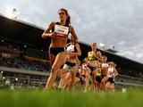 Eliza Curnow of VIC leads the pack in the Women's 1500 Metres during the Melbourne Track Classic at Melbourne Olympic Park.
