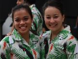 Erika Ropati-Frost and Mary Barter before the 2015 Pacific Games Opening Ceremony.