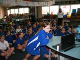 A student at Esperance asks their question during Chat to a Champ.