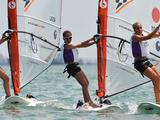 A flying start for Lara Lagoa of Spain (left), Audrey Yong of Singapore (centre) and Veronica Fanciulli of Italy (right) in the Techno- Girls' Windsurfer race