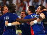 French players celebrate after the Men's Handball Gold Medal Match between France and Iceland held at the National Indoor Stadium during Day 16 of the Beijing 2008 Olympic Games on August 24, 2008 in Beijing, China.