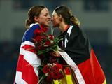 <p>(L-R) Heather Fell of Great Britain, silver, and Lena Schoeneborn of Germany, gold, congratulate each other after winning the women's modern pentathlon at the Olympic Sports Center Stadium on Day 14 of the Beijing 2008 Olympic Games on August 22, 2008 in Beijing, China. </p>