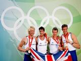 The Great Britain Men's Four with Tom James, Steve Williams, Pete Reed and Andrew Triggs Hodge celebrate the gold medal at the Shunyi Olympic Rowing-Canoeing Park.