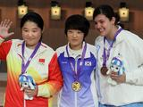 From left: Gold medalis. Fang Xue of ChinaKim Jang Mi of Korea (centre) and Geraldine Kate Solorzano of Guatemala