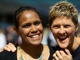 (L-R) Sydney 2000 Olympic Games gold medallists Cathy Freeman and Natalie Cook attend the Schools Celebration