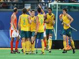 Eli Matheson (#19) of Australia celebrates with team mates in the Men's Bronze Medal Match between Netherlands and Australia held at the Olympic Green Hockey Field on Day 15 of the Beijing 2008 Olympic Games on August 23, 2008 in Beijing, China.