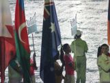 Tiana Penitani doing Australia proud during the Opening Ceremony for the Youth Olympics.