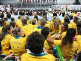 The Young athletes take in the atmosphere at the Opening Ceremony for the second summer Youth Olympic Games