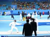 Marina Carrier competes in the Fencing Ranking Round of the Modern Pentathlon competition at the 2014 Youth Olympic Games in Nanjing, China on 22 August, 2014.