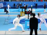 Marina Carrier competing in the fencing ranking round at the 2014 Youth Olympic Games in Nanjing, China.