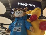 Aussie team mascot, BK and Lillehammer 2016 mascot, Sjogg stop over at Heathrow airport on their way to the Lillehammer Youth Winter Olympics Games