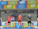 Sharnita Crompton wins bronze in the ice hockey skills challenge at Olympiaworld, Innsbruck on January 19, 2012.
