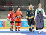Sharnita Crompton receives the YOGGL mascot after coming third in the ice hockey skills challenge final on January 19, 2012 at Olympiaworld, Innsbruck.