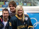 Sharnita with coach Andrew Reynolds and fellow ice hockey skills challenge competitor Sam Hodic after winning bronze at Olympiaworld, Innsbruck on January 19, 2012.