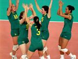 TTamsin Hinchley (No. 16), competing as part og the Australian Indoor Women's Volleyball Team, celebrates during their match between Croatia during the Sydney 2000 Olympics Games.