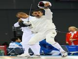 Andrea Valentini of Italy screams after victory over Viktor Horvath of Hungary at the Men's Modern Pentathlon Fencing Epee One Touch held at the Fencing Hall during Day 13 of the Beijing 2008 Olympic Games.