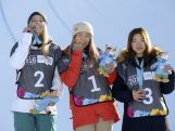 Emily Arthur (AUS), Chloe Kim (USA) and Jeong Yu-rim (KOR) (left to right) pose on the medal podium with the medals they won in the Ladies' Snowboard Halfpipe Finals at Oslo Vinterpark Halfpipe during the Winter Youth Olympic Games
