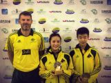 Youth Olympic coach Jens Lang and Youth Olympic athletes Vy Bui and Dominic Huang.