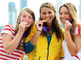 Silver medalist Pavlina Zasterova of Czech, Gold medalist Jessica Fox of Australia and Bronze medalist Viktoria Wolffhardt of Austria (L to R)