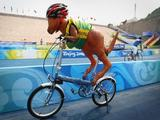 A toy kangaroo is put on the bicycle in front of the bicycle garage of Australia during the Road Cycling at the Triathlon Venue during day eight of the 2008 Paralympic Games on September 14, 2008 in Beijing, China.