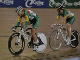 Tasmanian AYOF athletes Lauren Perry (68) and Macey Stewart (70) compete in the U19 event at the 2013 Omnium National Championships at the DISC Velodrome, Melbourne on 14 December, 2012.