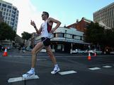 Luke Adams competes in the Mens section of the Australian Road Walk Championships at Constitution Dock on February 19, 2011 in Hobart, Australia.