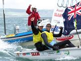 Mathew Belcher and Malcolm Page , who have won their last seven regattas, took out the gold medal in the 470 men's pair at the 2012 Skandia Sail for Gold Regatta in Weymouth, United Kingdom.