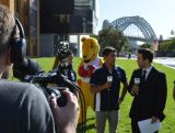 Phil Brent interviews Kenneth To at the media event to celebrate 100 days until the Nanjing Youth Olympic Games, on 8 May 2014 at Sydney Harbour foreshore.